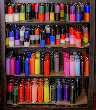 various candles for the candle magic workshop in Los Angeles