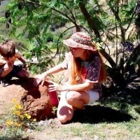herbalist Julie James teaching children about plant life