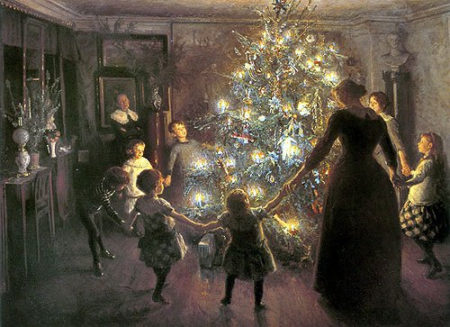 painting of a family holding hands around the Yule tree