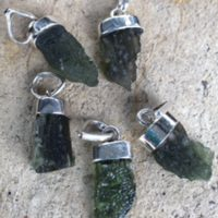 Moldavite pendants set in sterling