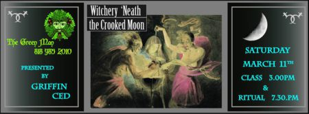 Witchery 'Neath the Crooked Moon Workshop with Griffin Ced event flyer