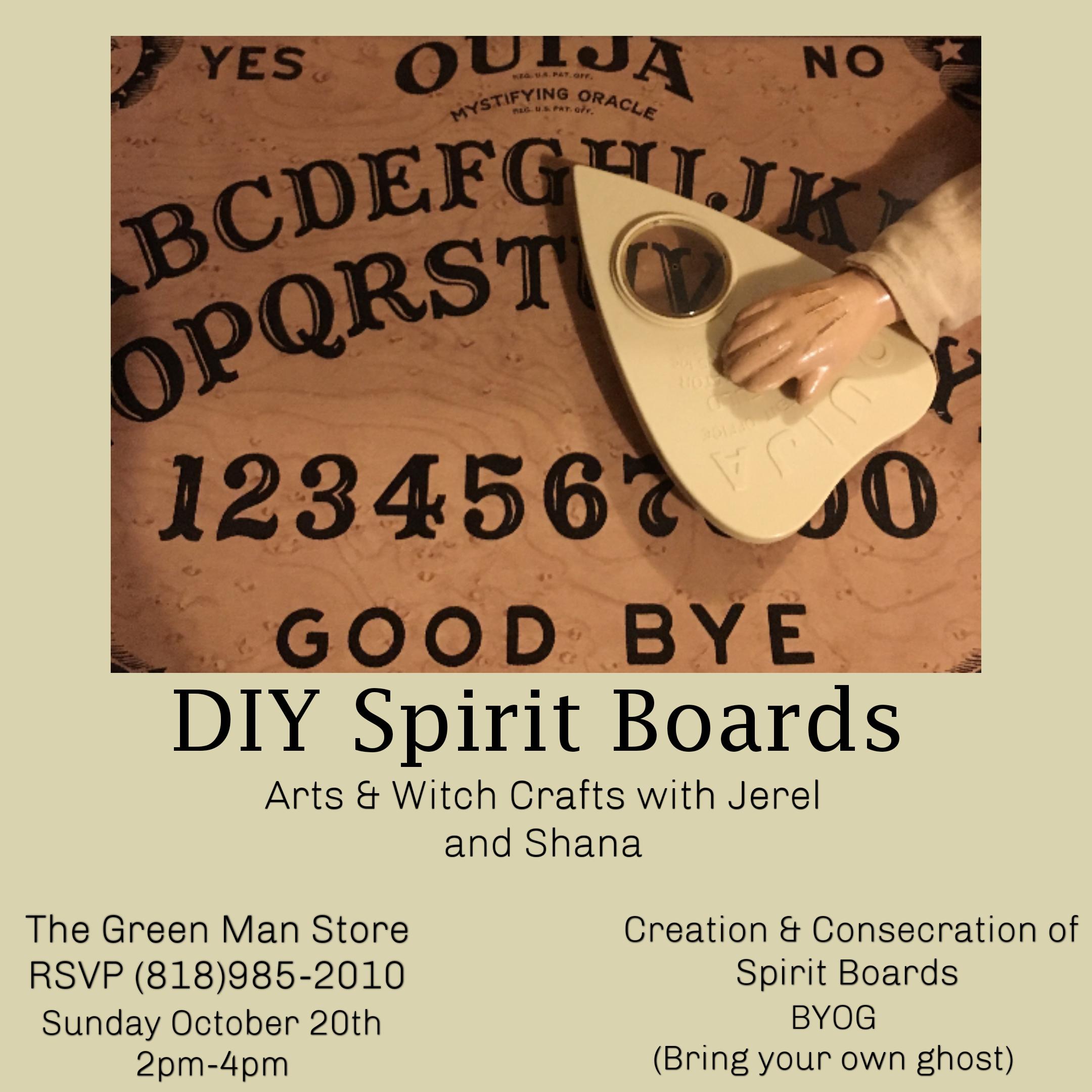 DIY spirit boards workshop flyer