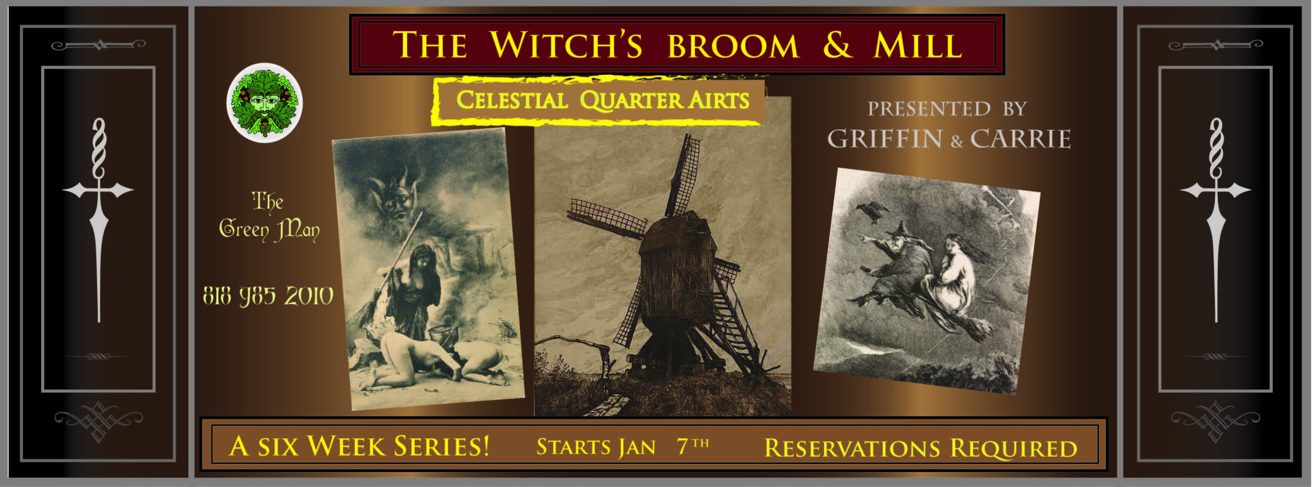 The Witch's Broom & Mill with Griffin and Carrie flyer