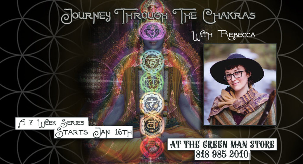 Journey Through The Chakras Class Series with Rebecca promotional flyer
