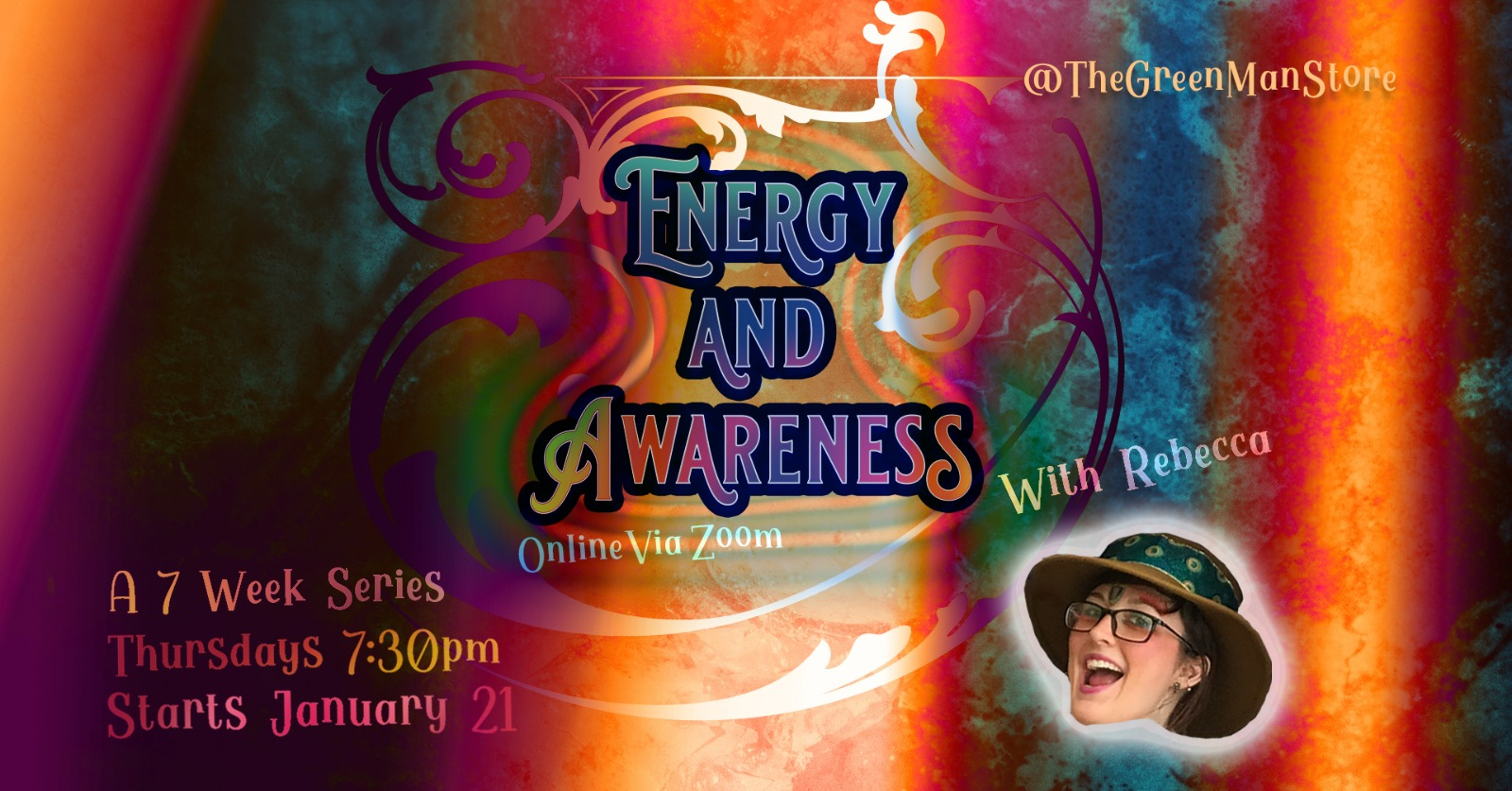 Energy and Awareness Zoom Series with Rebecca class flyer